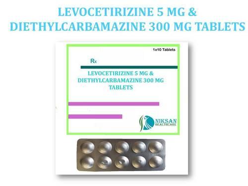 LEVOCETIRIZINE 5 MG &DIETHYLCARBAMAZINE 300 MG TABLETS