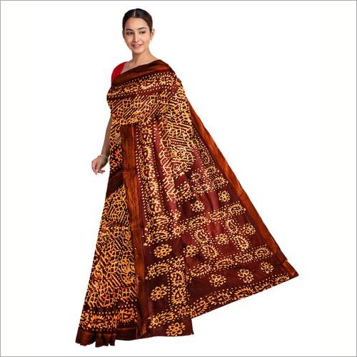 Hand Block Batik Printed Cotton Saree