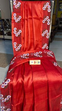 PURE TUSSAR SILK CUT WORK SAREE WITH BLOUSE 5.5 MTRS SAREE ,1 MTRS BLOUSE .