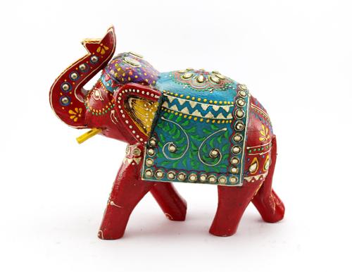Wooden Elephant Sculpture Painted