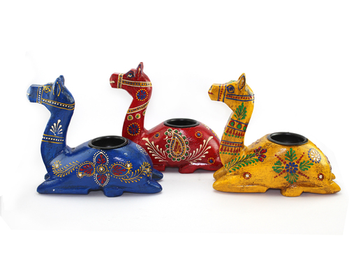 Wooden Handicraft Camel Candle Stand Set Of Three