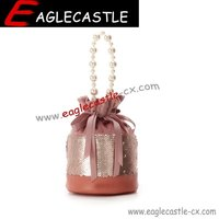 Lady bucket handbag / pearl bag / fashionable handbag / shoulder bag / women bag / Embroider bead handbag