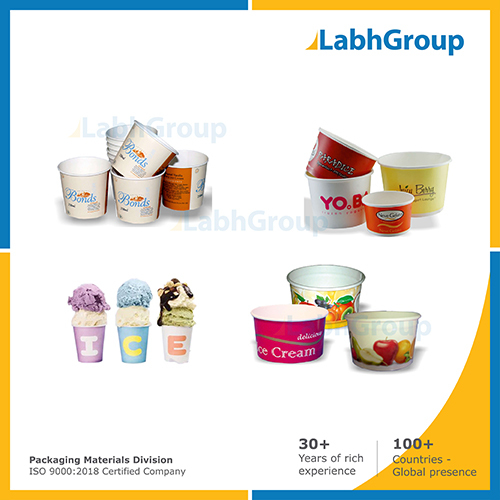 Printed Pe Coated Paper Cups For Ice Cream