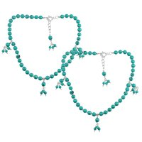 Natural Blue Turquoise Gemstone Anklet 925 Sterling Silver Beaded Anklet For Women