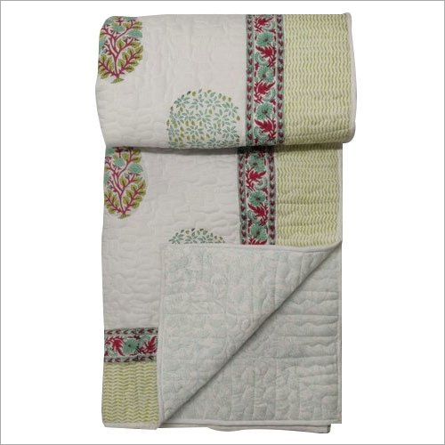 Jaipuri Hand Block Print Quilt Bed Cover