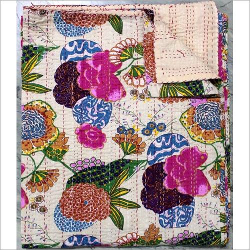 Jaipuri Kantha Fruit print Single Bed Cover
