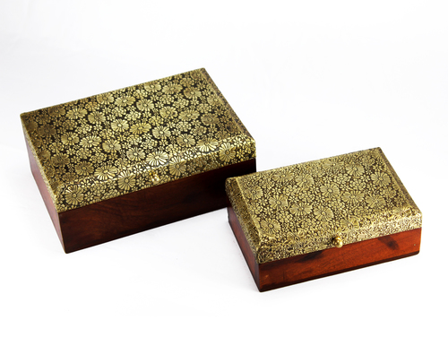 Wooden Handicraft Brass Small Jewelry Box Set Of 2