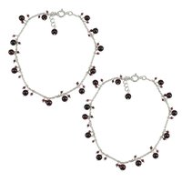 Natural Rhodolite Garnet Gemstone Anklet 925 Sterling Silver Beaded Anklet For Women