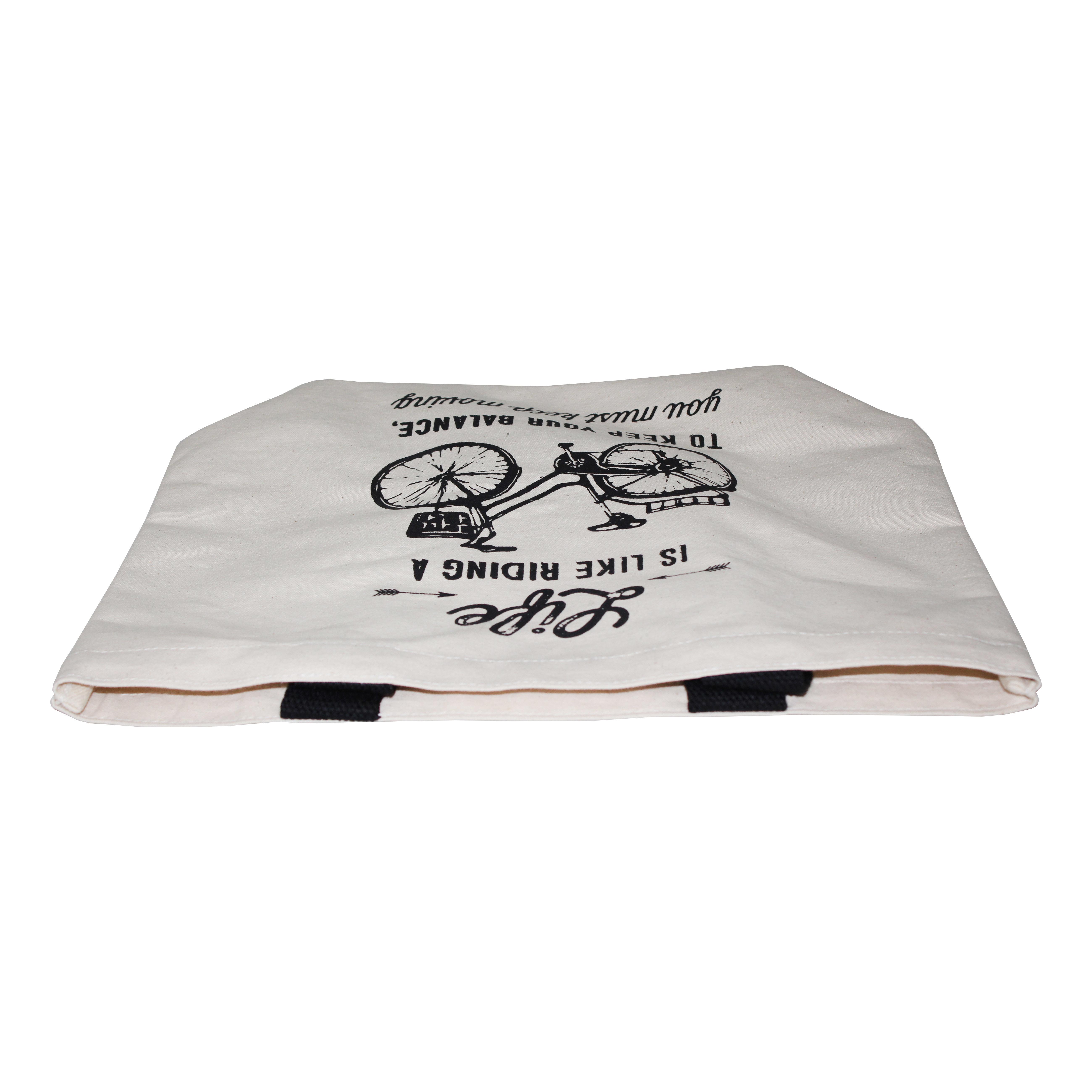 Cotton Web Handle One Color Black Print 12 Oz Natural Canvas Tote Bag
