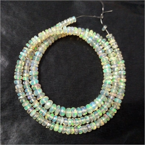Natural Ethiopian Opal Gemstone Faceted Rondelle Beads
