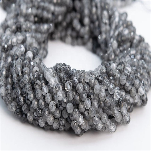 Natural Black Rutilated Quartz Stone Faceted Rondelle Beads