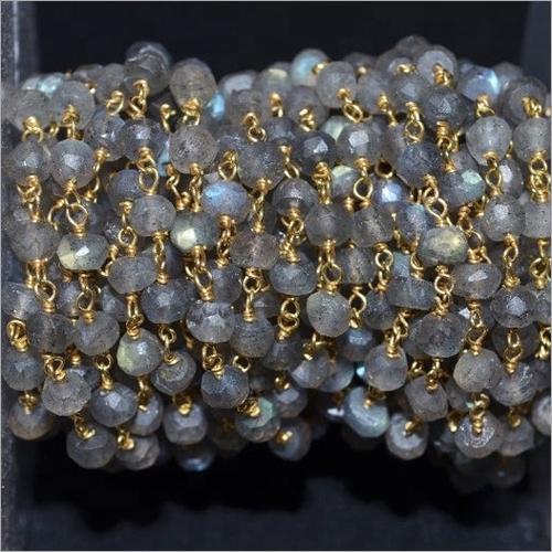 Natural Labradorite Gemstone Beads Handmade Beaded Rosary Chains