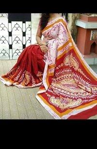 Cotton Silk Screen Print Saree