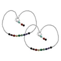 Amazing Multi Gemstone Anklet 925 Sterling Silver Beaded Anklet For Women