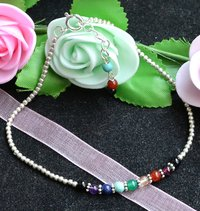 Natural Multi Gemstone Anklet 925 Sterling Silver Beaded Anklet For Women