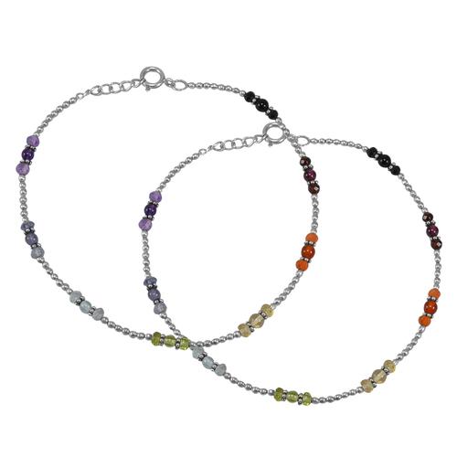 Natural Multi Gemstone Anklet 925 Sterling Silver Beaded Handmade Stone Anklet For Women
