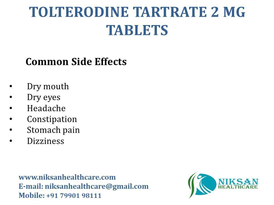 TOLTERODINE TARTRATE 2 MG TABLETS