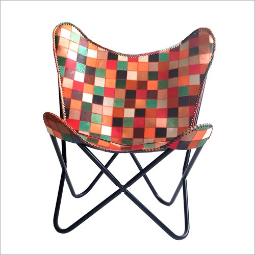 Checked Leather Butterfly Chair