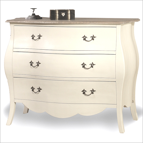 3 Drawer Wooden White Side Table