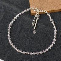MZ AT-20017 Natural Rose Quartz Gemstone Anklet 925 Sterling Silver Beaded Anklet