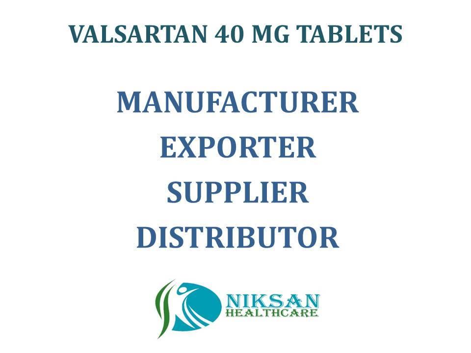 VALSARTAN 40 MG TABLETS