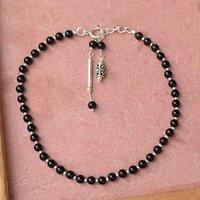 MZ AT-20021 Black Onyx Gemstone Anklet 925 Sterling Silver Beaded Anklet For Women