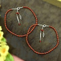 MZ AT-20024 Carnelian Gemstone Anklet 925 Sterling Silver Beaded Anklet For Women