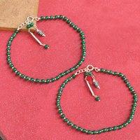 Natural Green Onyx Gemstone Anklet 925 Sterling Silver Beaded Anklet For Women