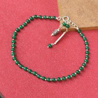 MZ AT-20027 Green Onyx Gemstone Anklet 925 Sterling Silver Beaded Anklet For Women