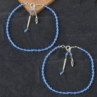 Natural Blue Chalcedony  Gemstone Anklet 925 Sterling Silver Beaded Anklet For Women
