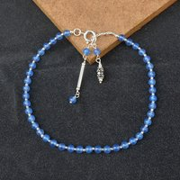 MZ AT-20029 Blue Chalcedony Gemstone Anklet 925 Sterling Silver Beaded Anklet For Women