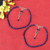 MZ AT-20030 Natural Blue Lapis Lazuli Gemstone Anklet 925 Sterling Silver Beaded Anklet For Women
