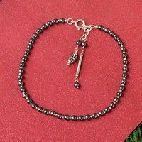 MZ AT-20033 Natural Hematite Gemstone Anklet 925 Sterling Silver Beaded Anklet For Women