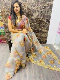 Khadi Organza Silk Sarees With Work