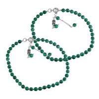 MZ AT-20036 Green Malachite Gemstone Anklet 925 Sterling Silver Beaded Anklet For Women