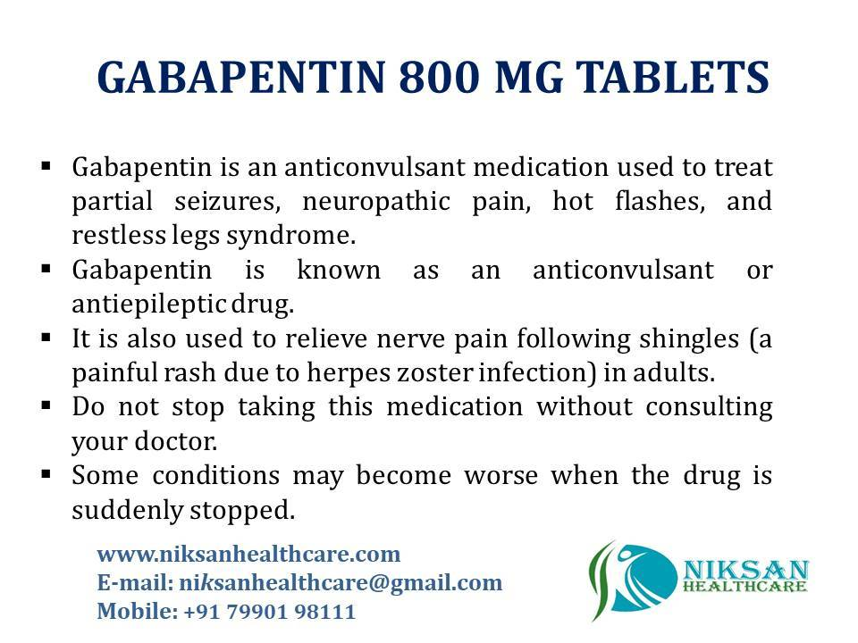 GABAPENTIN 800 MG TABLETS