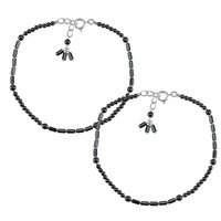 Natural Hematite Gemstone Anklet 925 Sterling Silver Beaded Anklet For Women & Girls