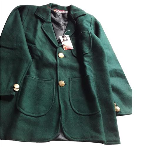 Dark Green Plain School Coat