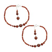 MZ AT-20046 Natural Carnelian Gemstone Anklet 925 Sterling Silver Beaded Anklet For Women & Girls