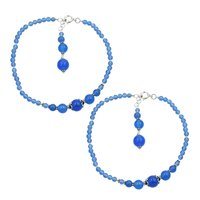 Natural Blue Chalcedony Gemstone Anklet 925 Sterling Silver Beaded Anklet For Women & Girls