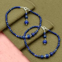 MZ AT-20050 Natural Lapis Lazuli Gemstone Anklet 925 Sterling Silver Beaded Anklet For Women & Girls
