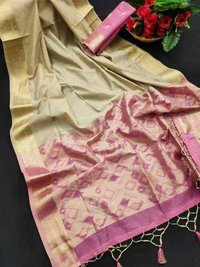 Matka silk sarees with ikkat pallu
