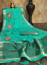 Linen Silk Sarees With Stone And Embroidery Work