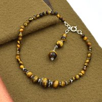 Mz At-20055 Natural Tiger Eye Gemstone Anklet 925 Sterling Silver Beaded Anklet For Women & Girls