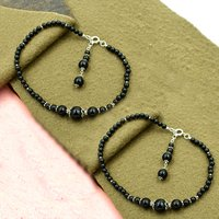 Mz At-20056 Natural Black Onyx Gemstone Anklet 925 Sterling Silver Beaded Anklet For Women & Girls
