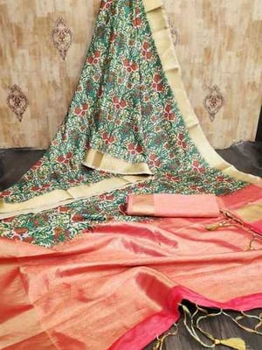 Raw Silk Sarees With Digital Prints
