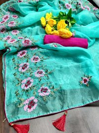 ORGANZA EMBROIDERY WORK SAREES