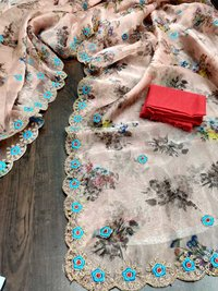 ORGANZA PRINTED WITH CODING EMBROIDERY WORK SAREES