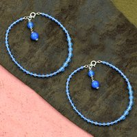 Mz At-20058 Natural Blue Chalcedony Gemstone Anklet 925 Sterling Silver Beaded Anklet For Women & Girls