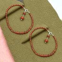 Natural Carnelian Gemstone Anklet 925 Sterling Silver Beaded Anklet For Women & Girls